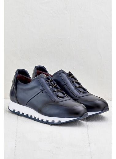 Elle %100 Deri Sneaker Ayakkabı Lacivert